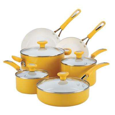 Ceramic Cxi 12-Piece Mango Yellow Cookware Set with Lids