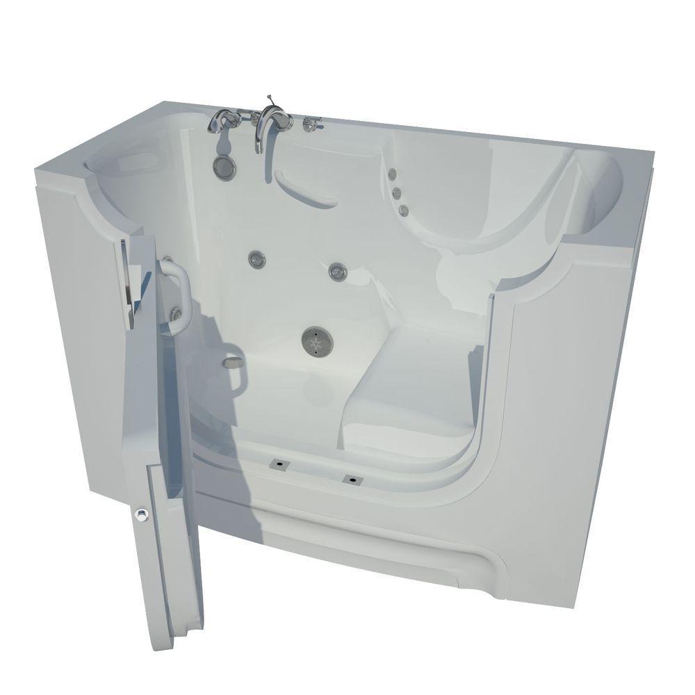 HD Series 60 in. Left Drain Wheelchair Access Walk-In Whirlpool Bath Tub with Powered Fast Drain in White