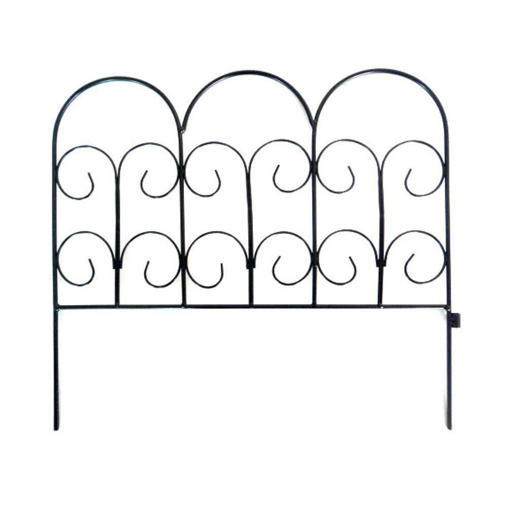 Vigoro Chelsea 16 in. H Black Wrought Iron Garden Fence