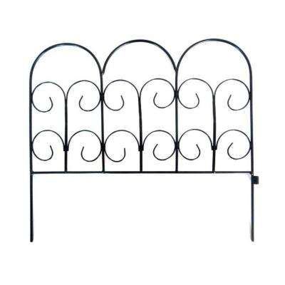 Chelsea 16 in. H Black Wrought Iron Garden Fence