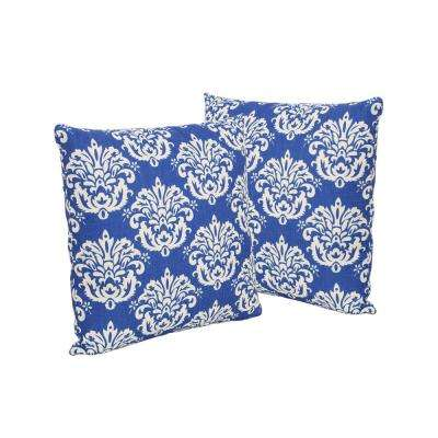 Tenerife Blue and Beige Square Outdoor Throw Pillows (Set of 2)