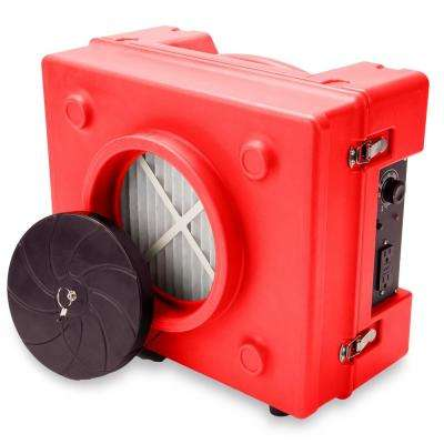 1/3 HP 2.5 Amp HEPA Air Purifier Scrubber for Water Damage Restoration Negative Air Machine in Red