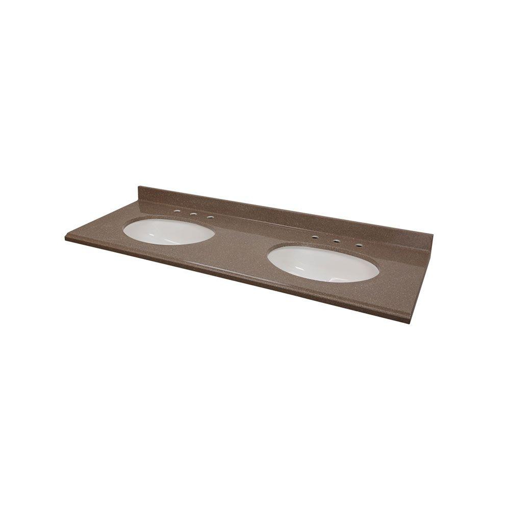 St. Paul 61 in. Colorpoint Technology Vanity Top in Mocha with White Double Undermount Bowls-DISCONTINUED