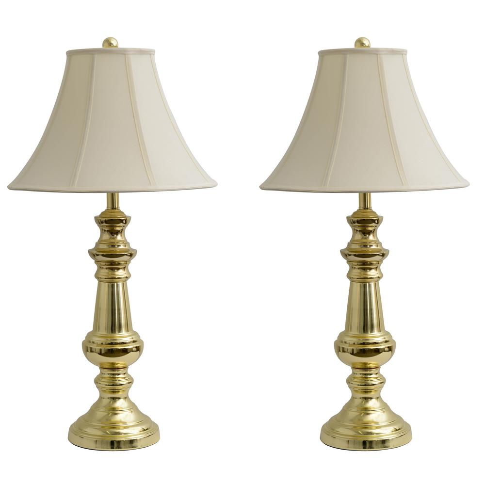 Decor Therapy Touch Control 32 In Polished Brass Table Lamp With