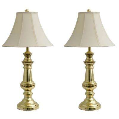 Touch Control 32 in. Polished Brass Table Lamp with Faux Silk Shade