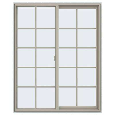 47.5 in. x 59.5 in. V-2500 Series Desert Sand Vinyl Right-Handed Sliding Window with Colonial Grids/Grilles