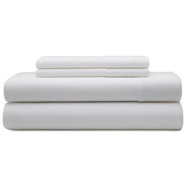 Brookside 4-Piece White Cotton Blend King Sheet Set BS06KKWHCS