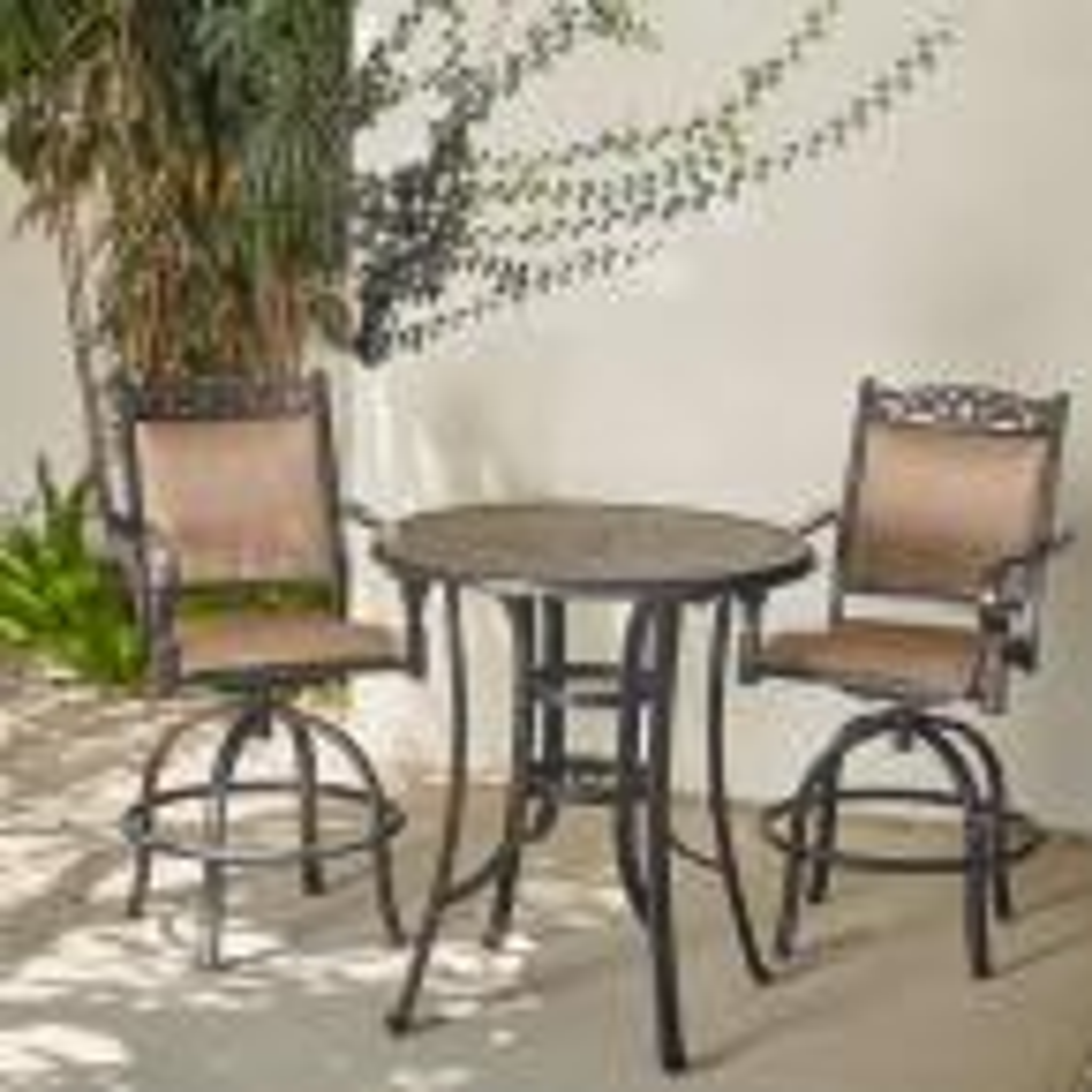 Tuscan Estate 3-Piece Aluminum Round Balcony Height Bistro Set