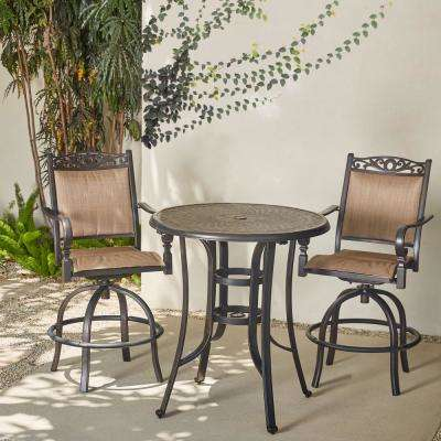 Tuscan Estate 3-Piece Aluminum Round Balcony Height Bistro Set
