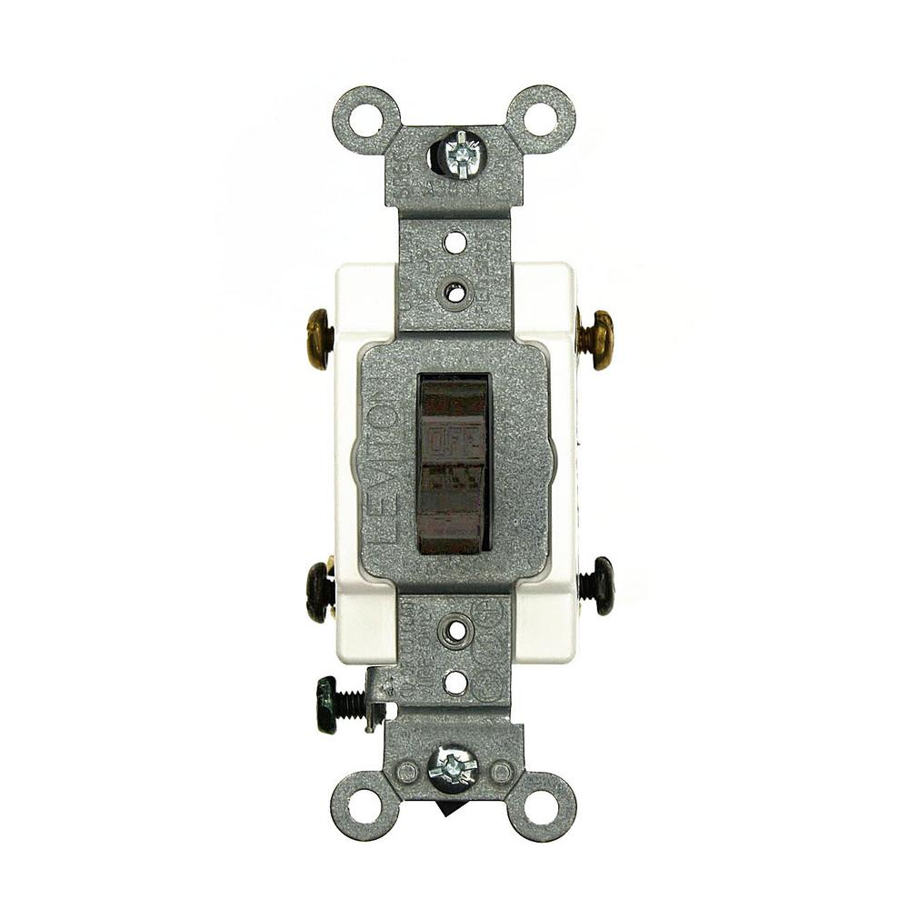 15 Amp Commercial Grade Double-Pole Back Wired Toggle Switch, Brown