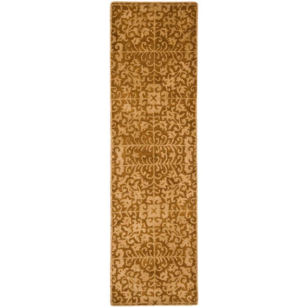 Antiquity Gold/Beige 2 ft. x 16 ft. Runner Rug
