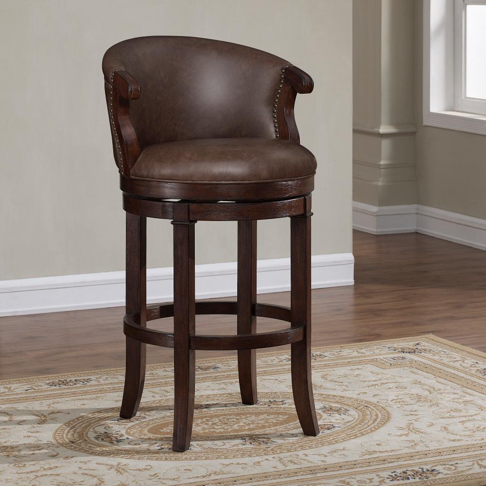 American Woodcrafters Mirelle 30 In Dark Cherry Cushioned Swivel Bar Stool