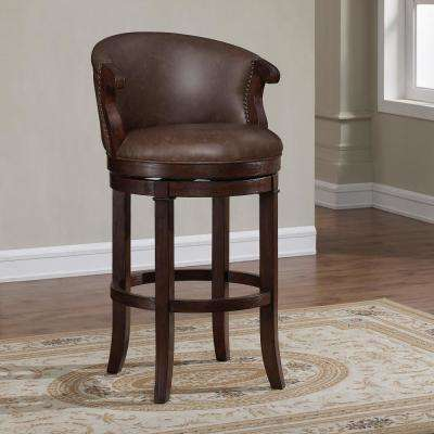 Mirelle 30 in. Dark Cherry Cushioned Swivel Bar Stool