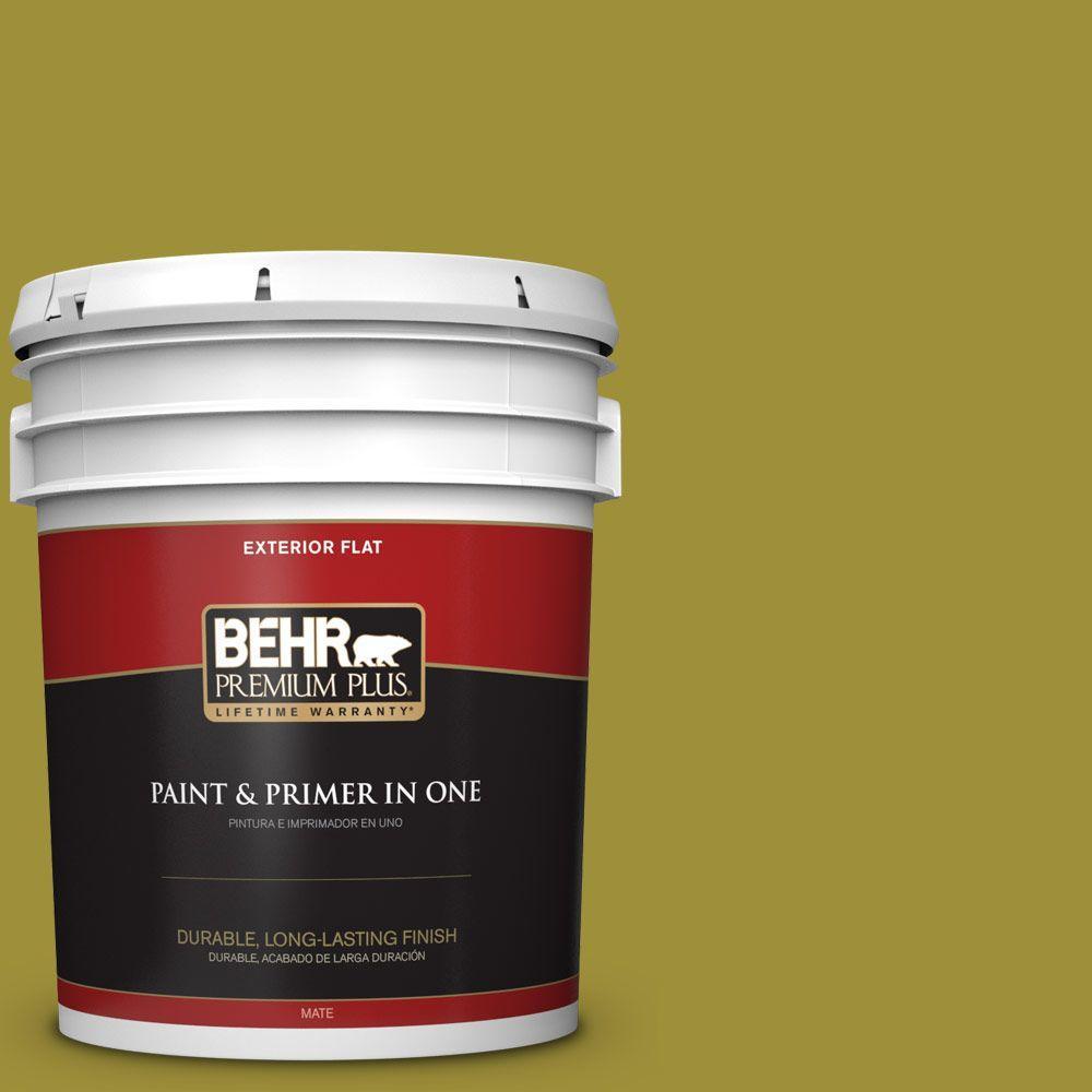 BEHR Premium Plus 5-gal. #HDC-MD-20 Banana Leaf Flat Exterior Paint