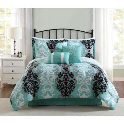 Studio 17 Downton Black/Grey/Aqua 7-Piece Full/Queen Comforter Set