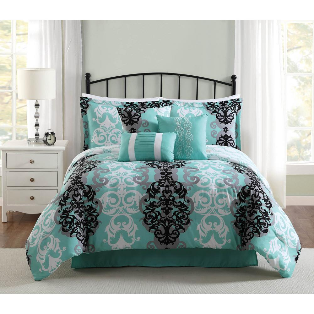 Studio Downton BlackGreyAqua Piece FullQueen Comforter Set - Black and teal comforter sets