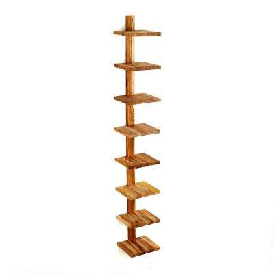 Takara Column Shelf 8 in. x 8.5 in. x 63 in. Teak Wood Wall-Mounted Decorative Wall Shelf