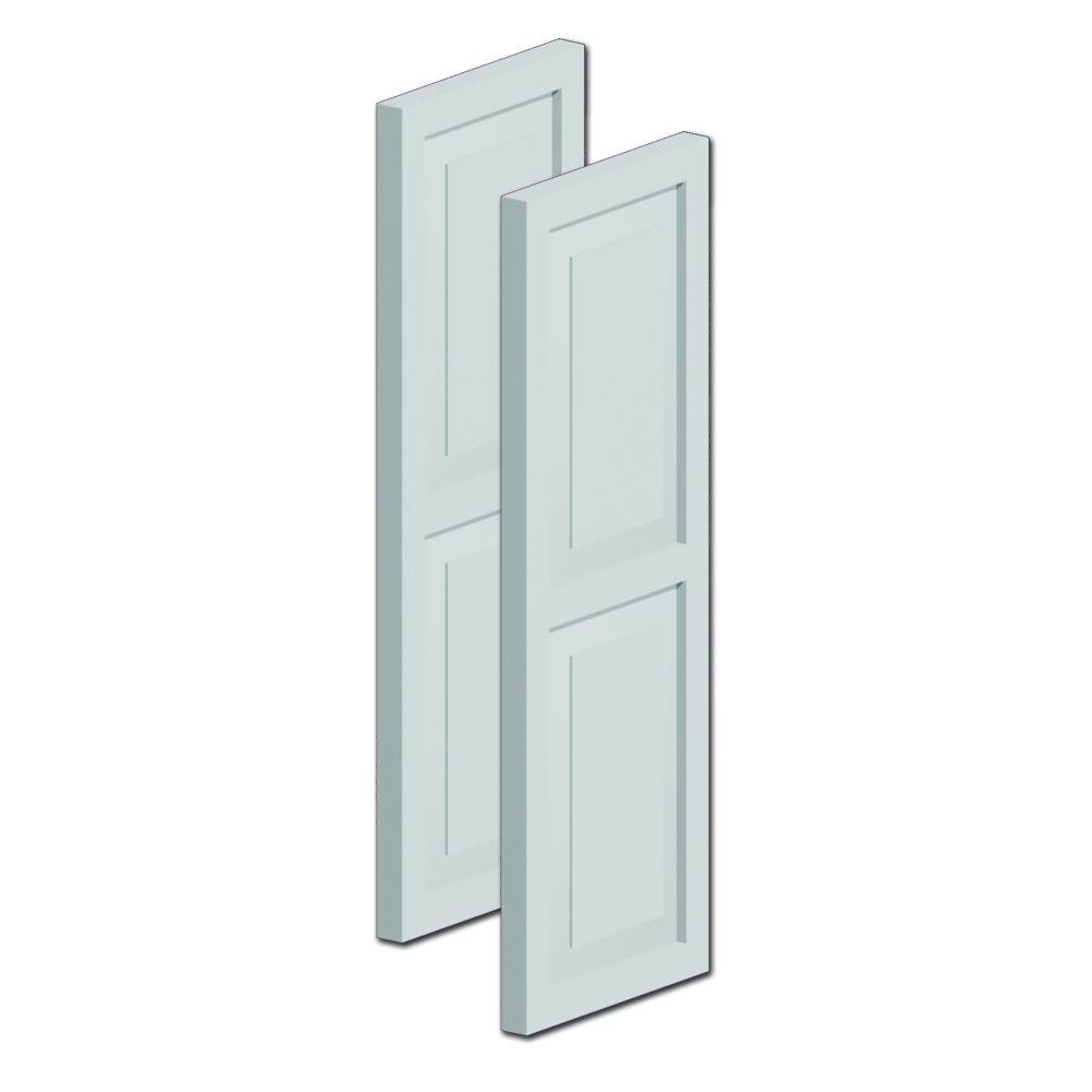 Fypon 59 in  x 18 in  x 1-1/4 in  Polyurethane Double Raised Panel Shutters  Pair