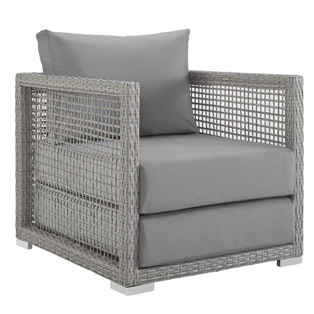 Phenomenal Modway Aura Gray Wicker Outdoor Lounge Chair With Gray Cushions Pabps2019 Chair Design Images Pabps2019Com