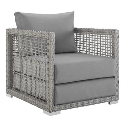 Aura Gray Wicker Outdoor Lounge Chair with Gray Cushions