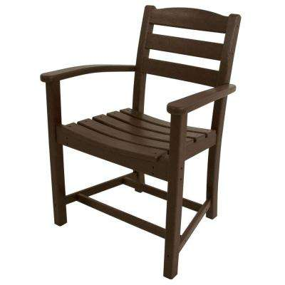 La Casa Cafe Mahogany All Weather Plastic Outdoor Dining Arm Chair