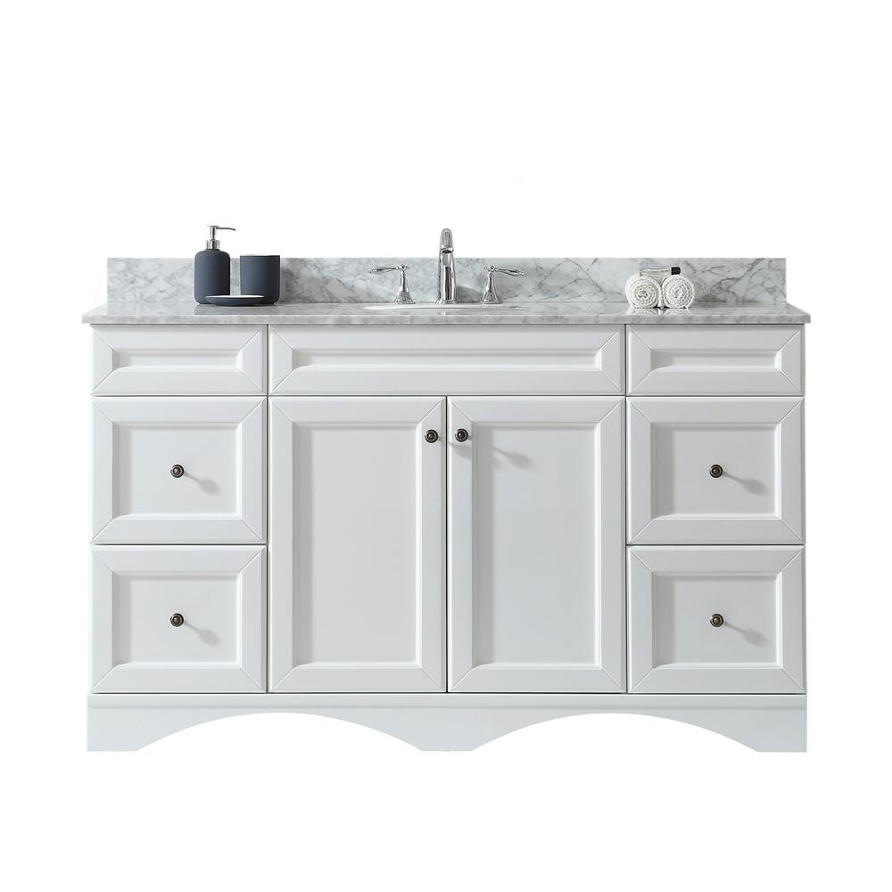 Virtu USA Talisa 60 in. W Bath Vanity in White with Marble Vanity Top in White with Round Basin