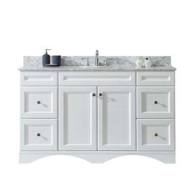 Talisa 60 in. W Bath Vanity in White with Marble Vanity Top in White with Round Basin
