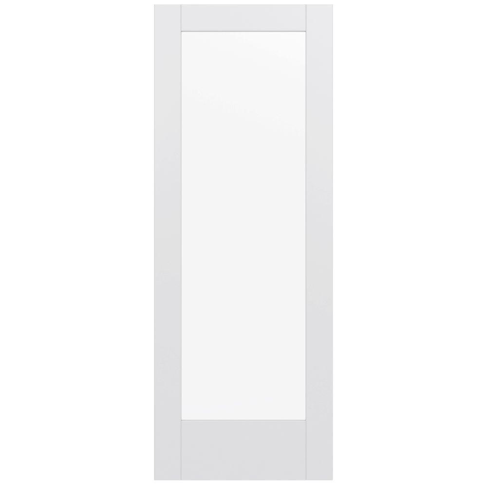Jeld wen 32 in x 80 in moda primed white 1 lite solid for Solid wood door with glass