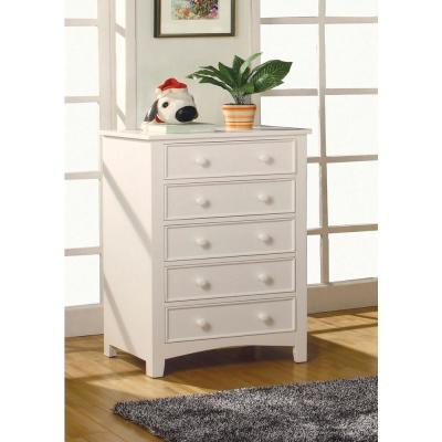 Omnus 5-Drawers White Transitional Style Chest