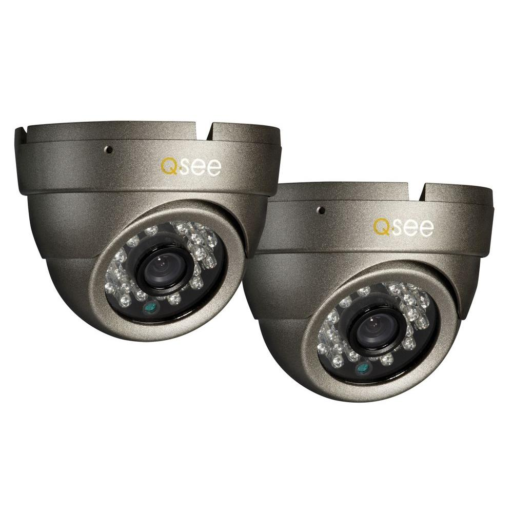 Q-SEE Premium Series Wired High-Resolution 700 TVL Indoor/Outdoor Dome Camera up to 80 ft. Night Vision (2-Pack)-DISCONTINUED
