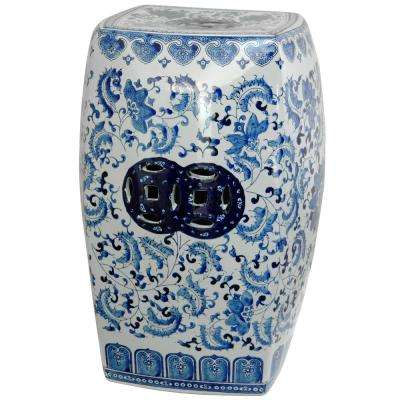 Oriental Furniture 18 in. Square Floral Blue and White Porcelain Garden Stool
