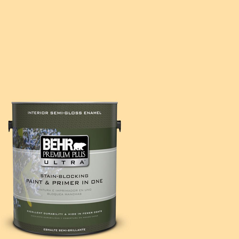 BEHR Premium Plus Ultra 1-gal. #310A-3 Manila Tint Semi-Gloss Enamel Interior Paint