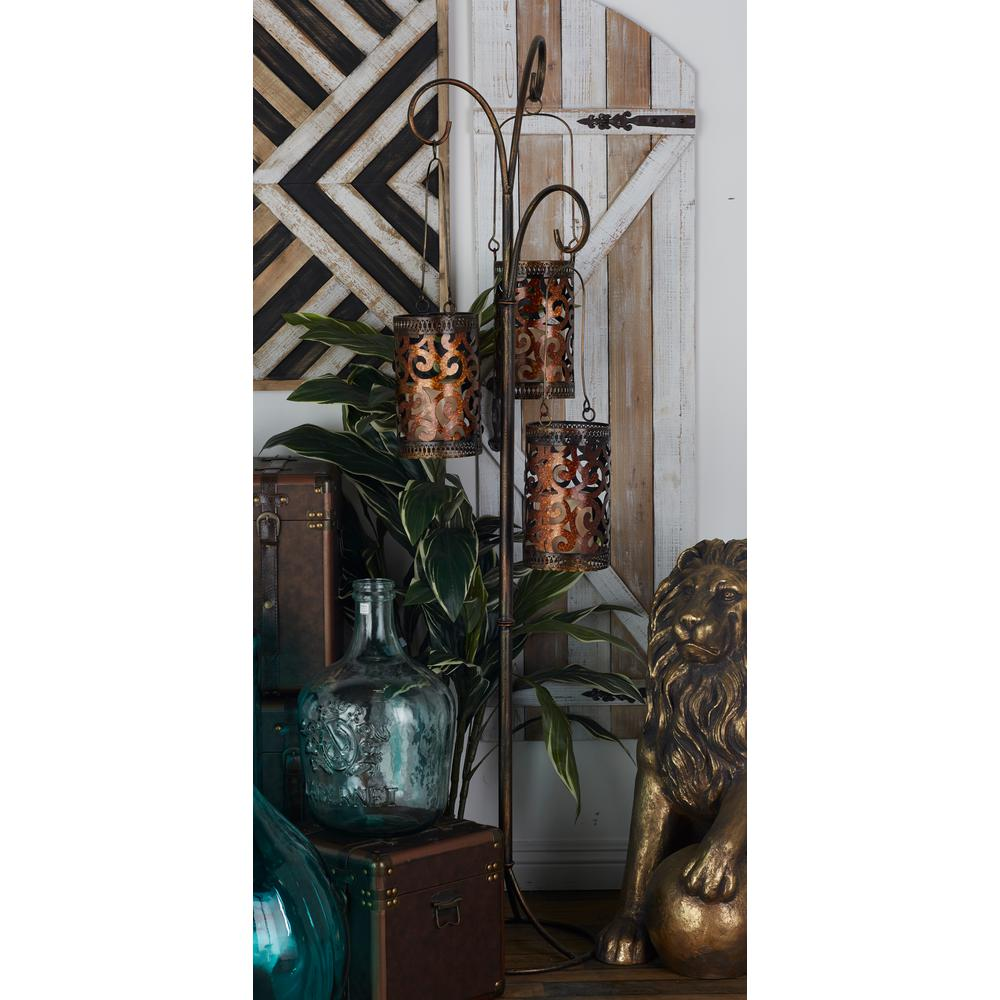 Bronze Metallic Hanging Barrel Floor Candle Lantern