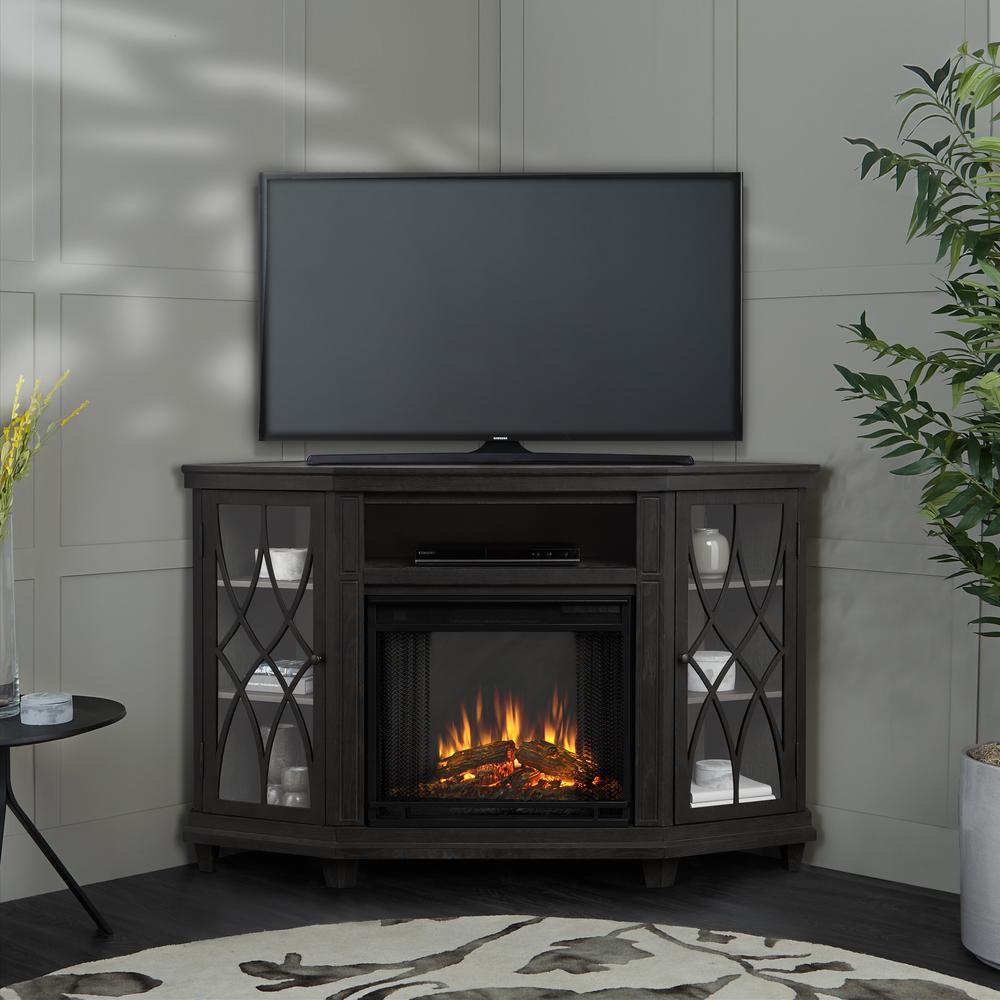 Electric Fireplace Heaters Home Depot: Real Flame Churchill 51 In. Corner Media Console Electric