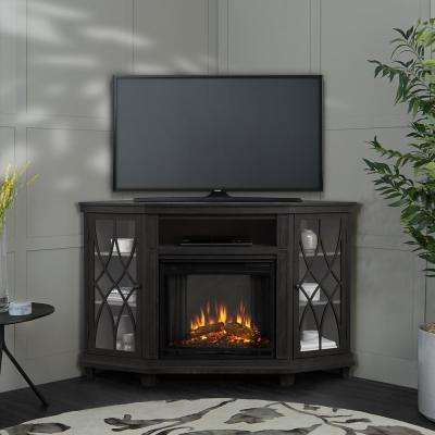 Lynette 56 in. Corner Electric Fireplace in Gray