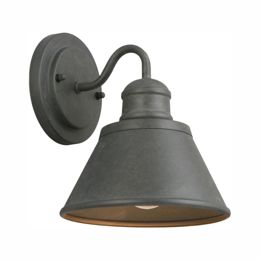 Hampton Bay 1-Light Zinc Outdoor Wall Barn Light Sconce Latern
