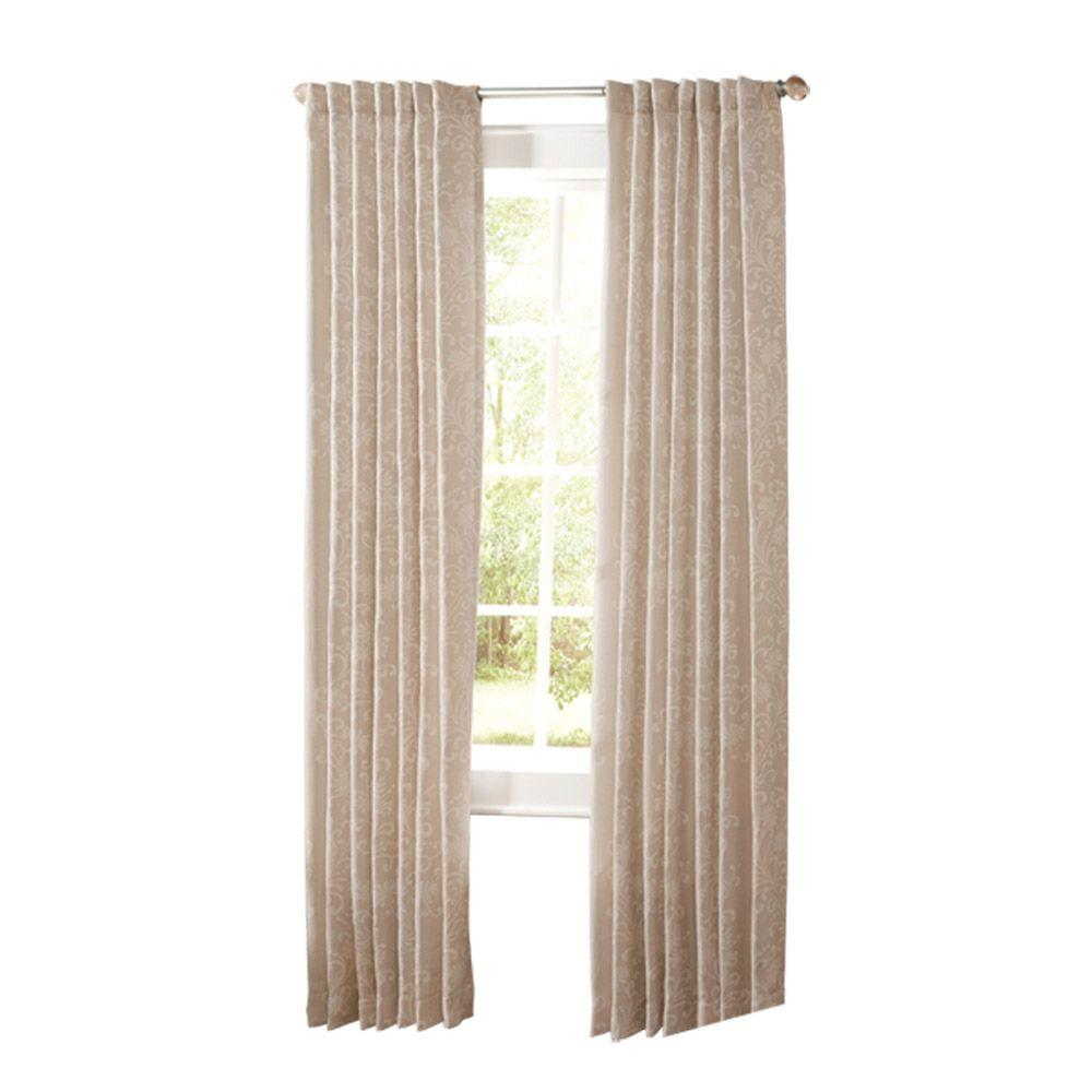 Beau Martha Stewart Living Semi Opaque Natural Twine Floral Scroll Back Tab  Curtain