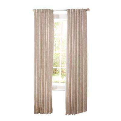 Semi-Opaque Natural Twine Floral Scroll Back Tab Curtain