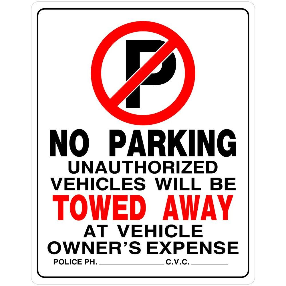 15 In X 19 In Plastic No Parking Sign 842196 The Home Depot