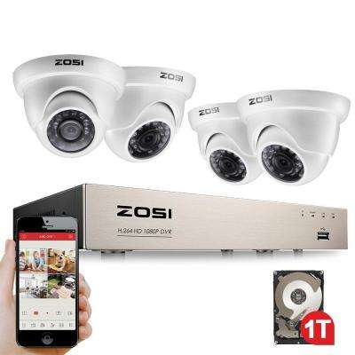 4-Channel 1080p 1TB Hard Drive DVR Security Camera System with 4 Wired Dome Cameras