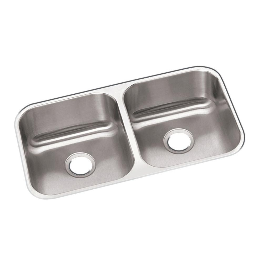 Dayton Undermount Stainless Steel 32 in. 50/50 Double Bowl Kitchen Sink