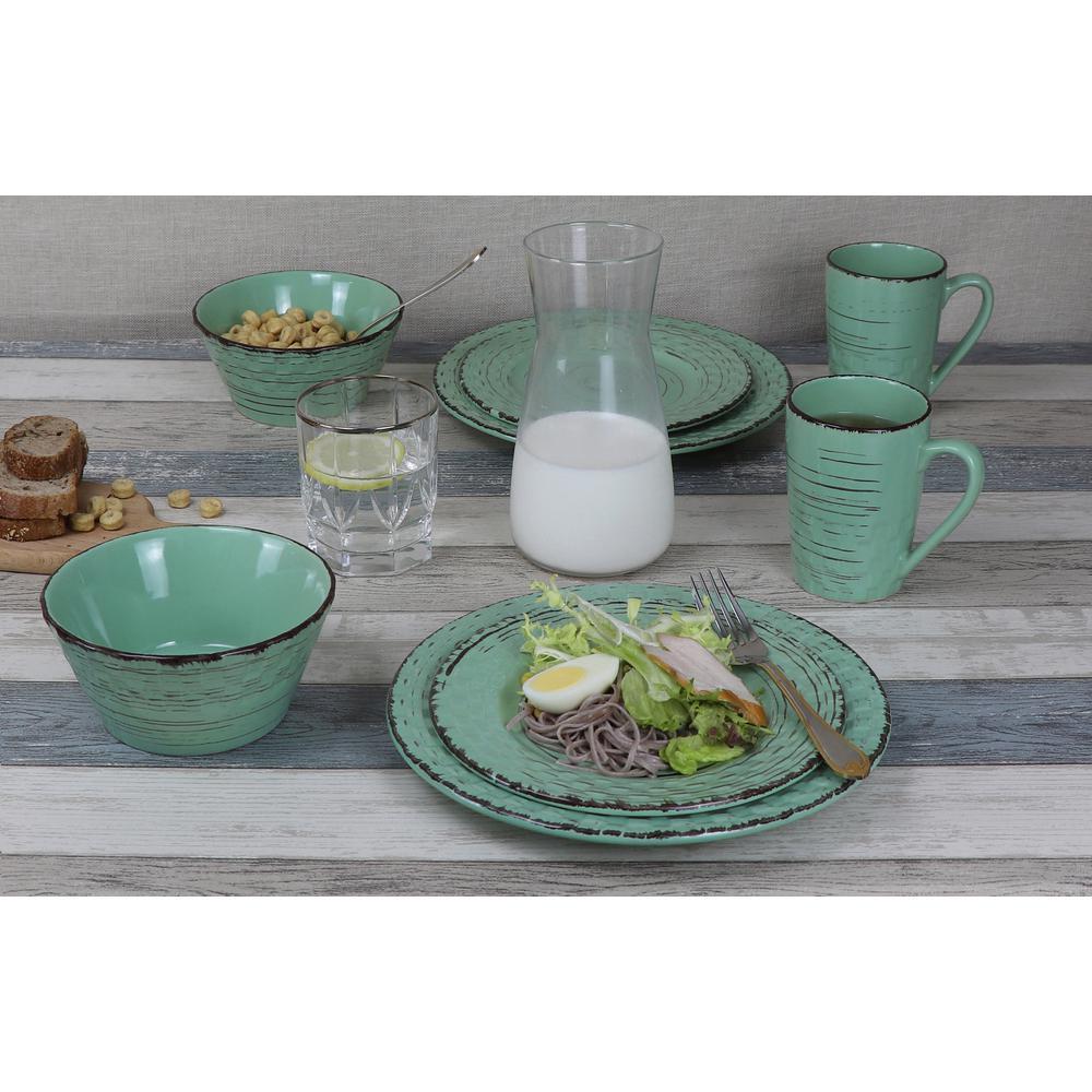 16-Piece Green Distressed Weave Dinnerware Set