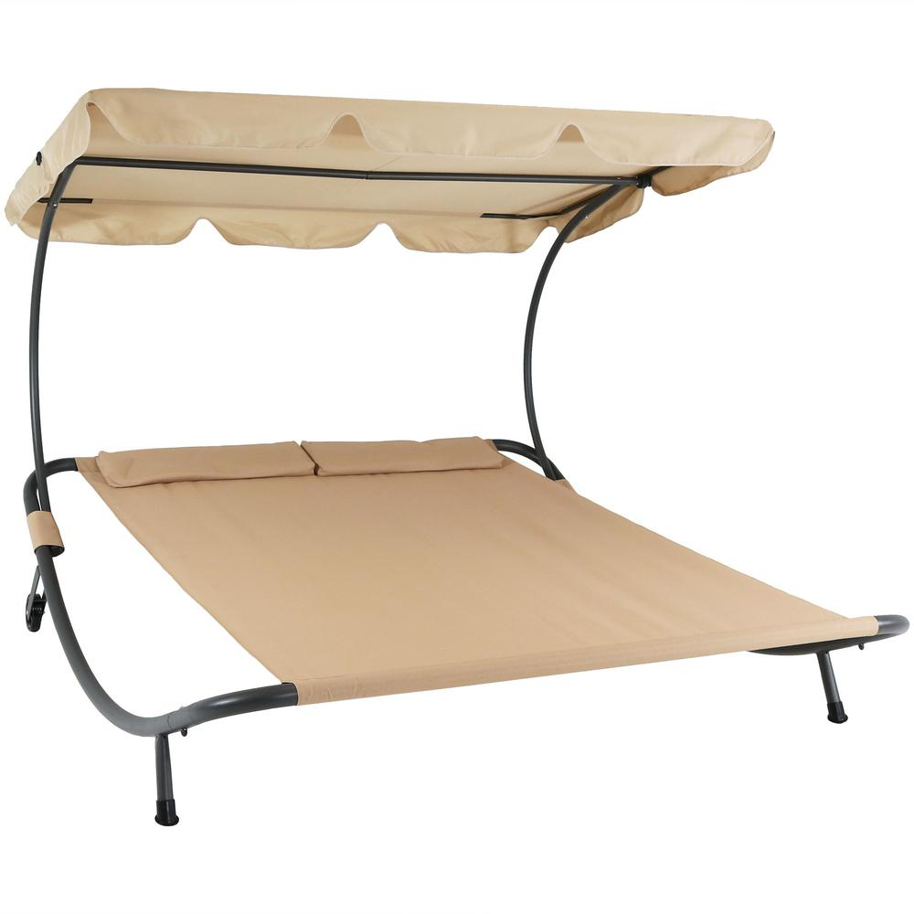 Sling Double Outdoor Chaise Lounge Bed With Canopy And Headrest Pillow