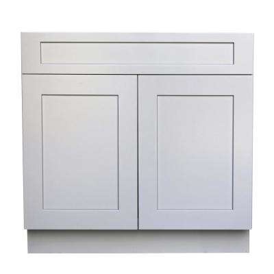 Plywell Ready to Assemble 30x34.5x24 in. Shaker Sink Base Cabinet with 2-Door and 1 Fake Drawer in Gray