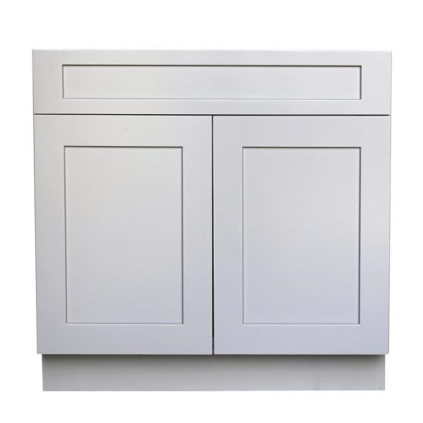 Ready to Assemble Shaker 36 in. W x 21 in. D x 34.5 in. H Vanity Cabinet with 2 Doors in Gray