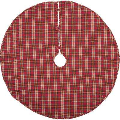 48 in. Galway Barn Red Rustic Christmas Decor Tree Skirt