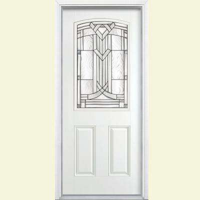 36 in. x 80 in. Chatham Camber 1/2 Lite Right-Hand Primed Smooth Fiberglass Prehung Front Door w/ Brickmold, Vinyl Frame