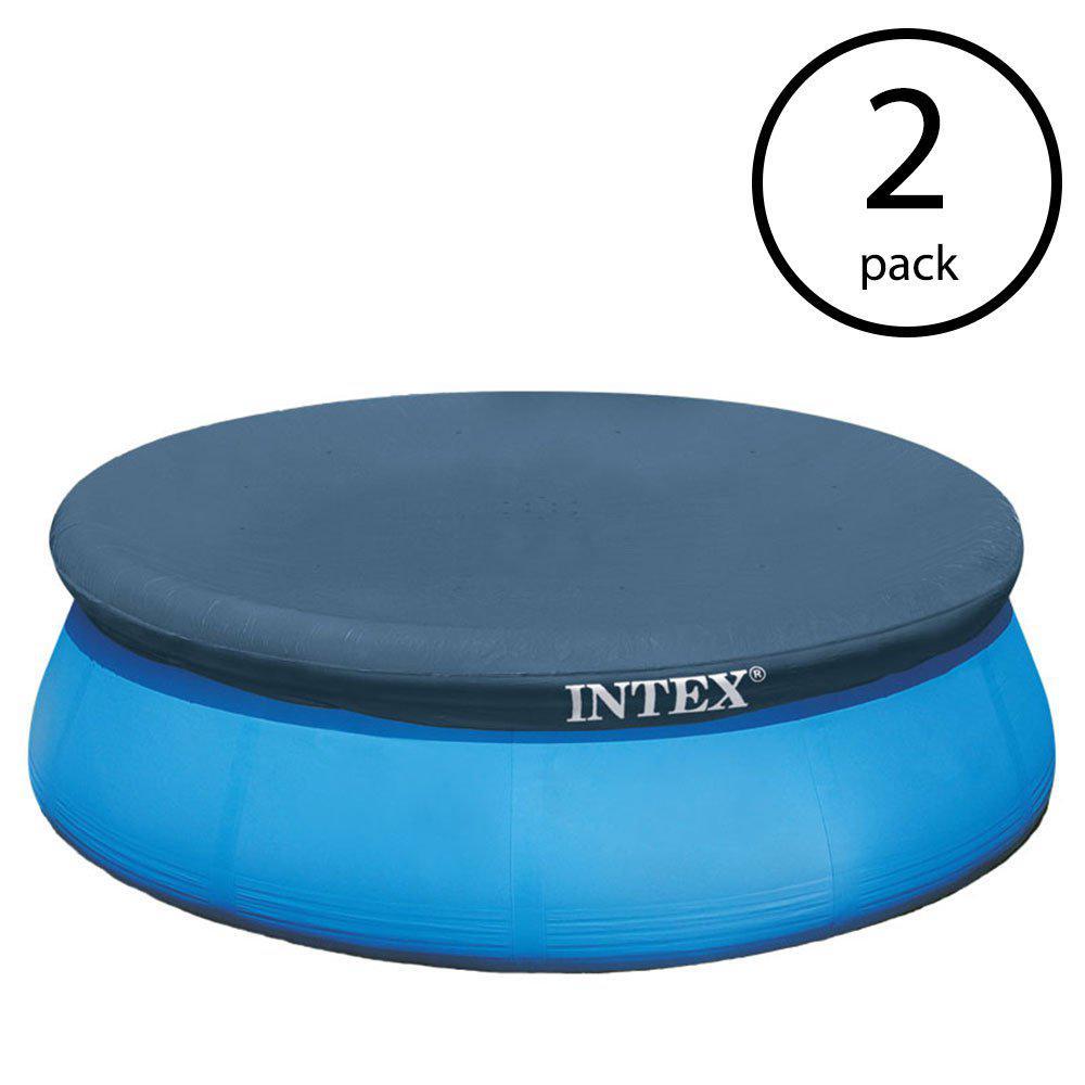 Intex Easy Set 15 ft. Round Vinyl Swimming Pool Debris Leaf Cover Tarp  (2-Pack)