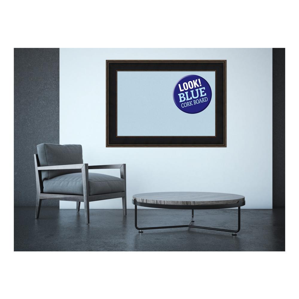 Mezzanine Espresso Wood 44 in. x 32 in. Framed Blue Cork Board