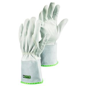 Hestra JOB Sun Size 9 Large Mig / Tig Welding Glove With Flexible Goatskin 4 inch Cowhide Gauntlet in Grey by Hestra JOB
